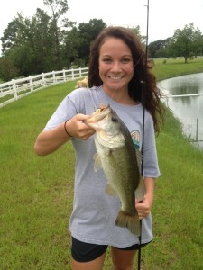Carli Davidson of Waycross, Ga. caught this nice bass from a Waycross area pond recently. Bass fishing is a great bet this weekend. Go early for the best bite!