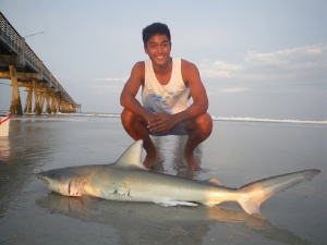 Joshua Estrada of Richmond, Va., landed this 54-inch shark on Sunday evening and returned it to the surf after taking the photo. Sharks are commonly caught all summer on the Georgia coast.