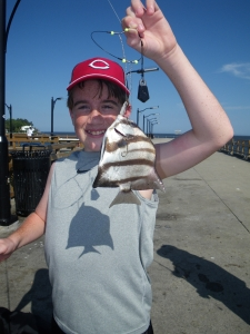 Marshall from Ohio was fishing off the St. Simons Island Pier, when he landed this spadefish. The fish ate a small piece of shrimp fished on the bottom.
