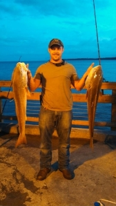 The bull redfish bite has been wide open over the last few weeks, and it should continue another month. These two bulls were caught, tagged, and released from the St. Simons Pier the last week in September.