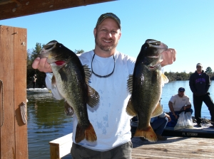 Vance McCullough (pictured) and Patrick Pierce of Jacksonville, Fl. caught and released these two bass at Bienville Plantation on Sunday.