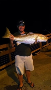 The bull redfish have shown up at the St. Simons Pier. This 43-incher and another smaller fish were caught on Saturday evening on cut whiting (photo courtesy of St. Simons Bait and Tackle).