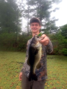 Andrew Steedley  caught this solid bass from a Waycross pond last week by working a topwater frog over dense vegetation.