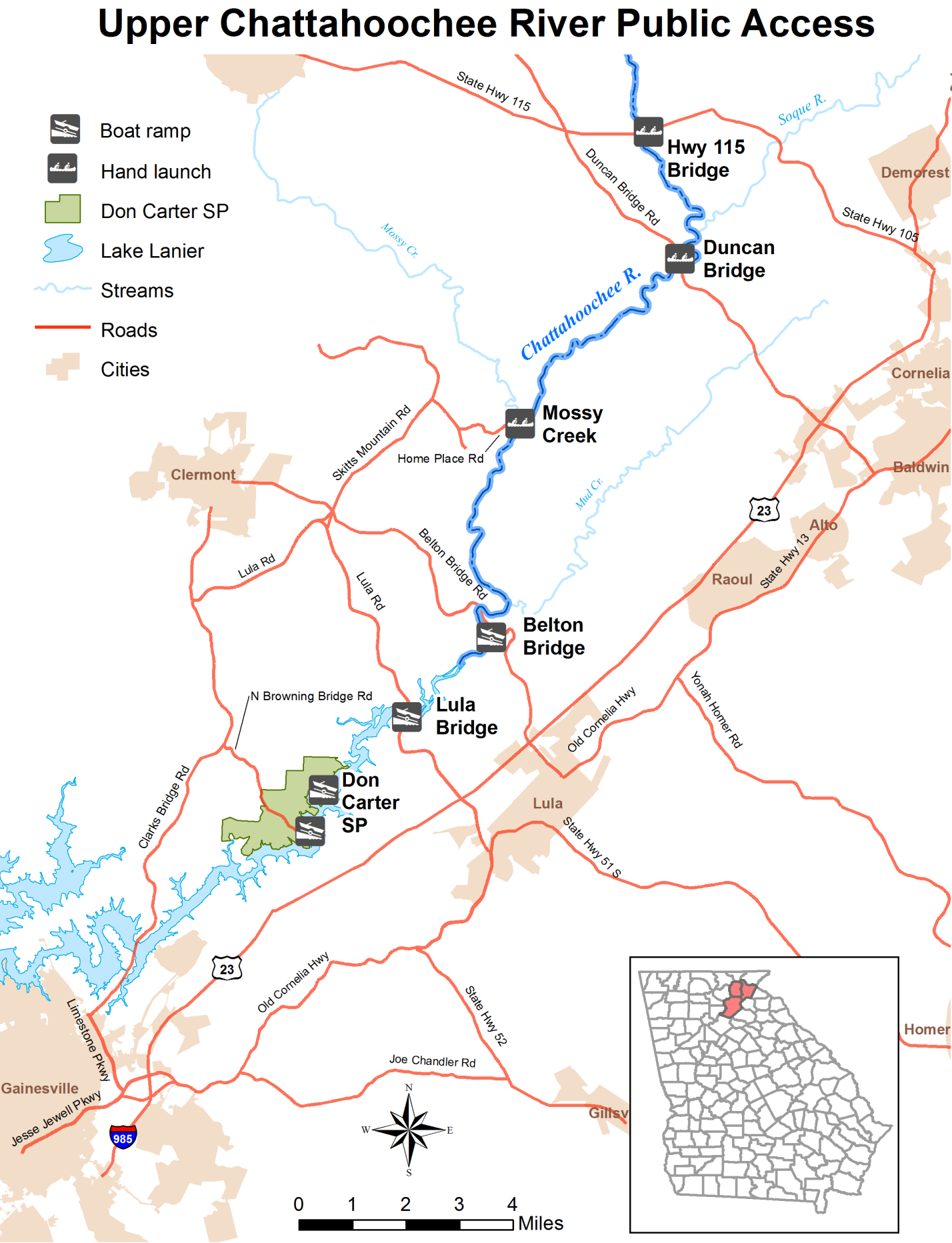 Upper Chattahoochee River Fishing And Public Access Points - Rivers of georgia map