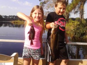 Chloe and Cash Smith caught these nice fish from a Waycross area pond while fishing with their dad (Photo courtesy of Winge's Bait and Tackle)