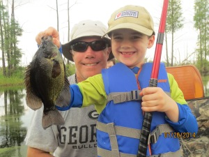 Nathanael Johnson of Blackshear caught this angler-award sized (9-inch) flier in the Okefenokee Swamp on Saturday morning while fishing with his dad, Ron.