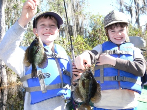 """Evan Chaney (left) and Timothy Deener """"doubled up"""" on fliers in the Okefenokee Swamp last Saturday. The pair of anglers caught 15 fliers on sallies fished under a float. Evan caught his first flier during the trip."""