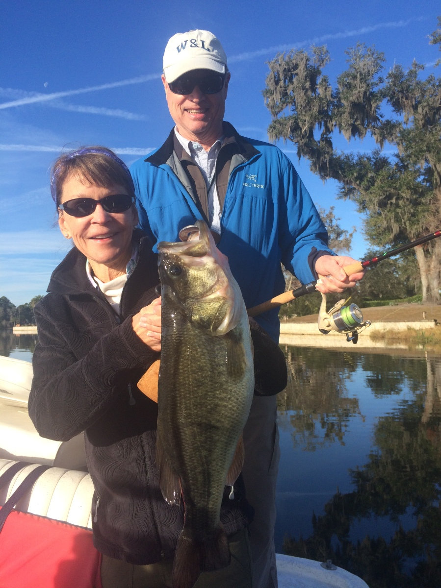 Judy Hoyt of Atlanta caught this quality bass on Saturday using a junebug straight tail worm fished on an 1/8-oz. shaky head. She and her husband Walter also caught 10 other bass from a Brunswick area pond on Saturday using the same setup.