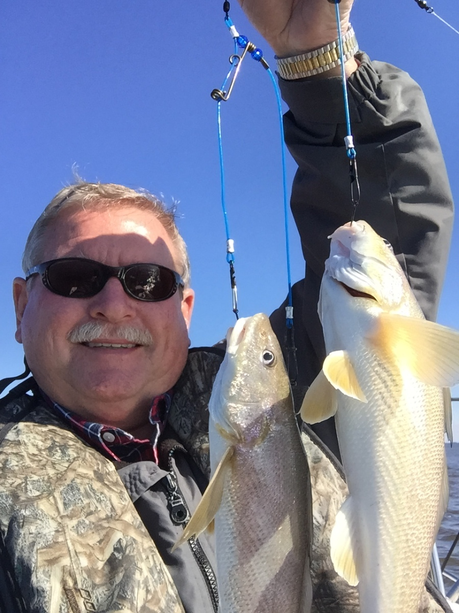 """Raymond West of Waycross caught this """"double"""" of bull whiting this winter. The whiting bite is about to fire up, so get your bottom rigs ready."""