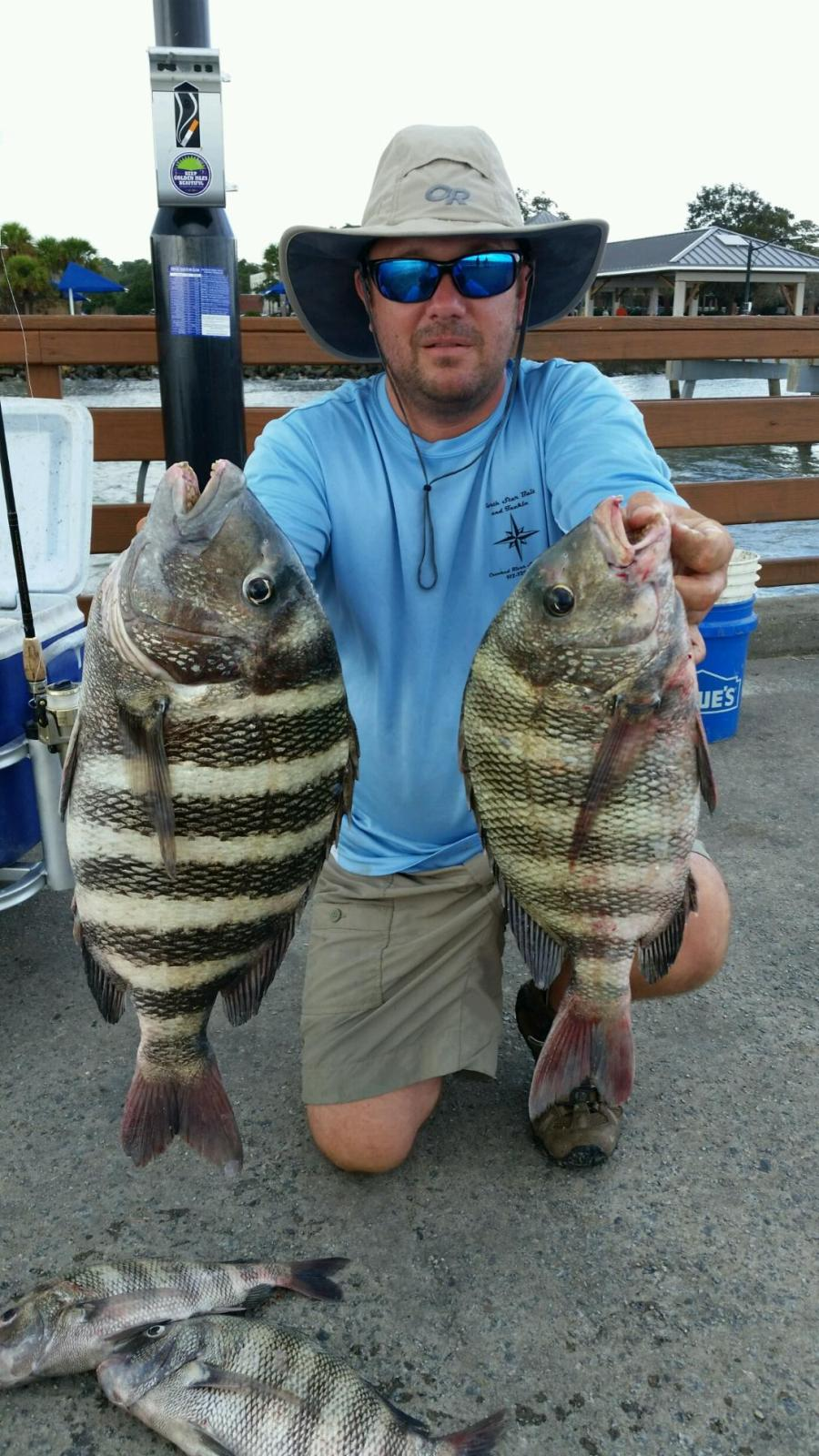 Winter is sheepshead time. Ed Zmarzly of Waycross caught these beauties (the 7-pounder on the left is his personal best!) from the St Simons Pier.