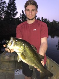 Wyatt Crews landed this 5-pound bass from a Ware County pond using a green pumpkin Keitech Mad Wag Worm.